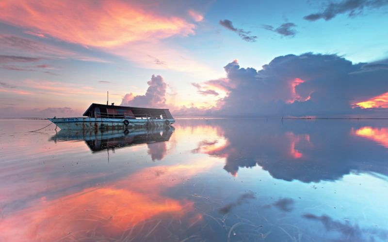 sunset boat landscape sea ocean reflection wallpaper