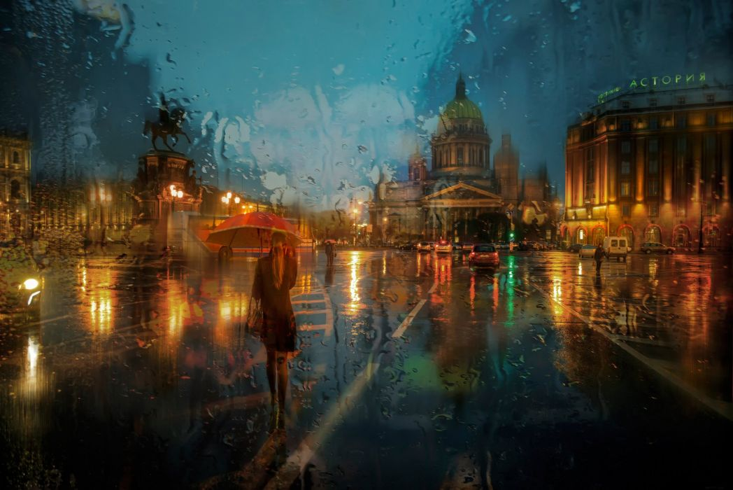 st petersburg isaakievskaa area rain russia storm mood art artwork painting wallpaper