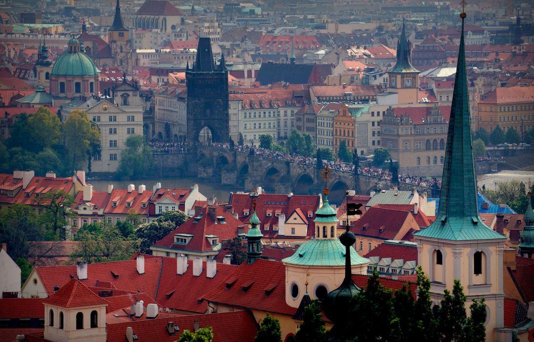 St Vitus Cathedral Prague city buildings wallpaper