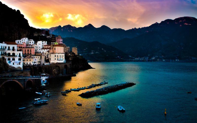 Tyrrhenian sea Amalfi italy town village building sunset marina wallpaper