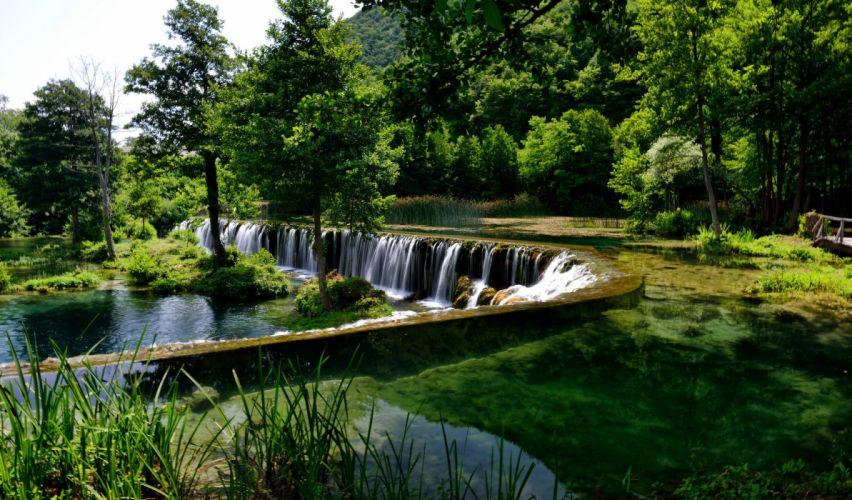 Bosnia and Herzegovina River Waterfall Scenery Pliva Trees Nature wallpaper