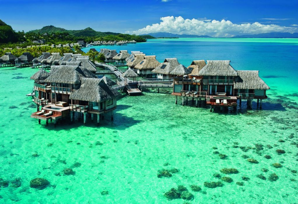 French Polynesia Tropics Sea Scenery Bungalow Nature building ocean tropical wallpaper