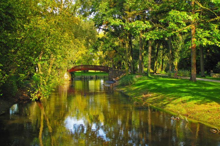 Poland Park River Bridge Sochaczew Trees Grass Nature wallpaper