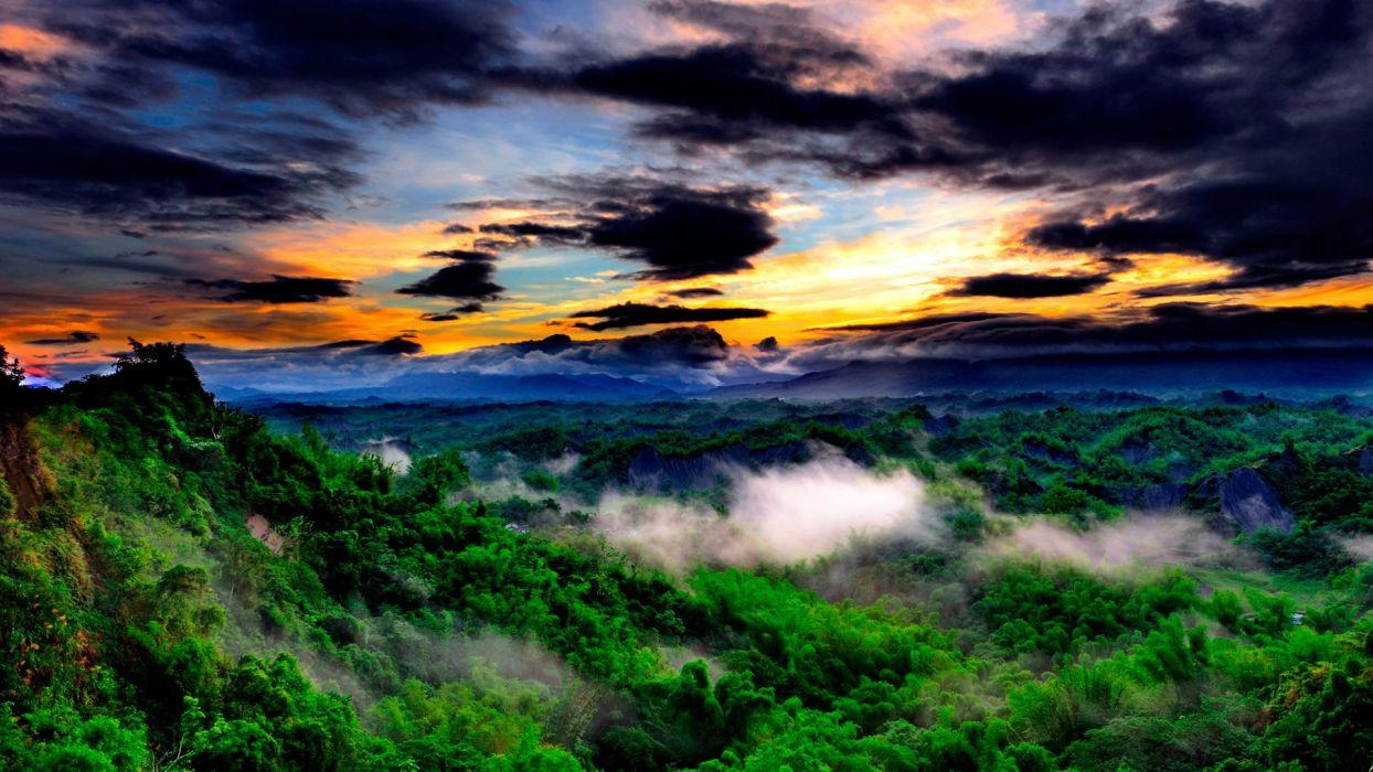 landscape forest sunrise sunset clouds color landscape wallpaper
