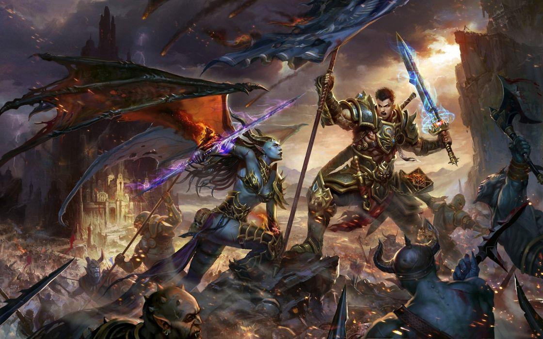 battle monsters weapons warrior sword banner demon wings wallpaper
