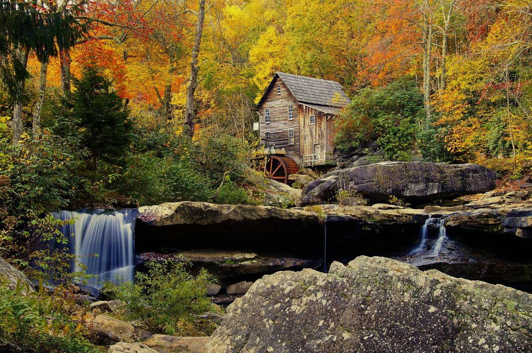 Babcock State Park Crist Mill autumn forest river waterfall mill landscape wallpaper