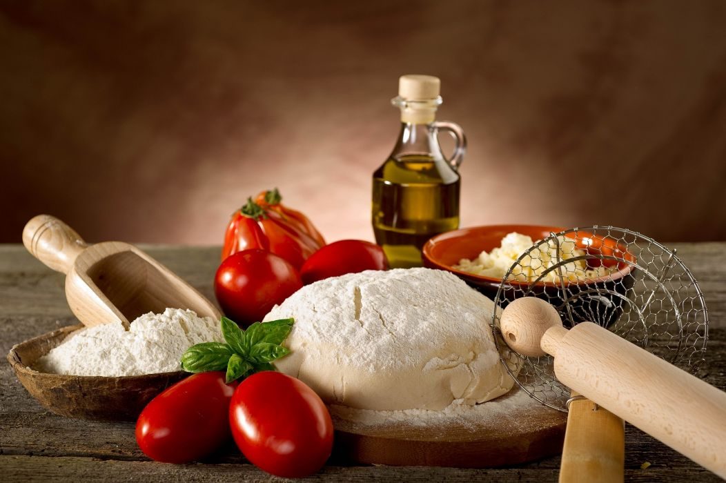 bread dough flour tomatoes oil wallpaper