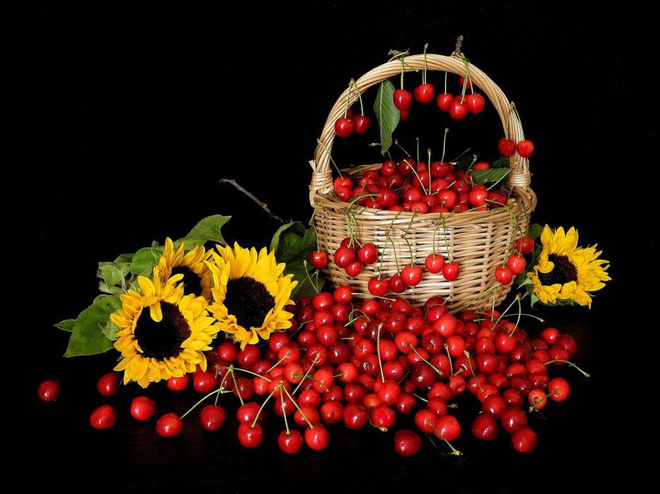 cherry basket sunflowers still life cherries wallpaper