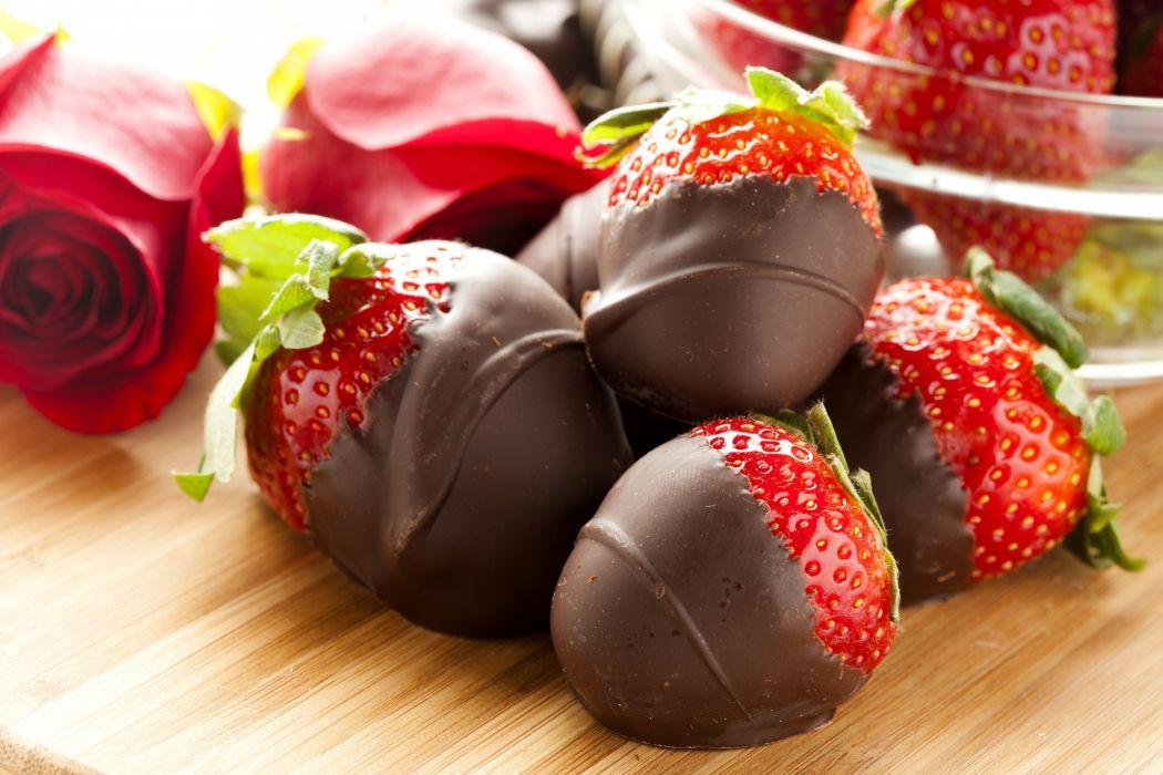 Chocolate roses berries strawberries sweets dessert wallpaper