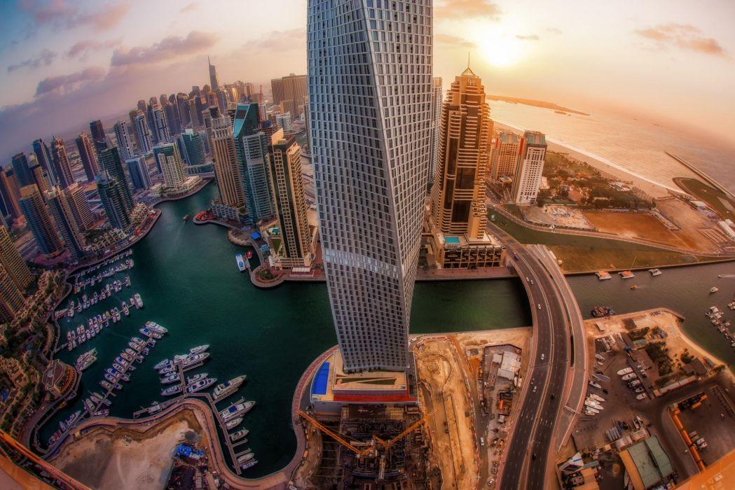 City Dubai United Arab Emirates skyscrapers sunrise wallpaper