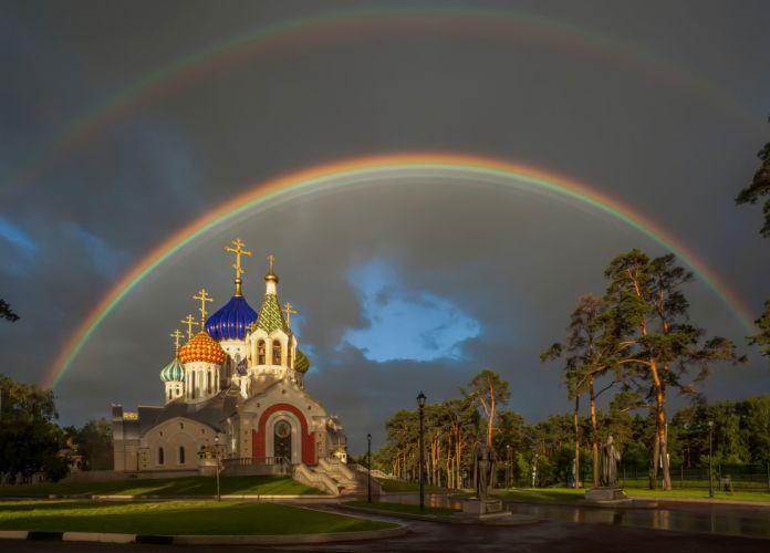 Church of the Holy Prince Igor of Chernigov rainbow Peredelkino Moscow Patriarchal metochion rain wallpaper