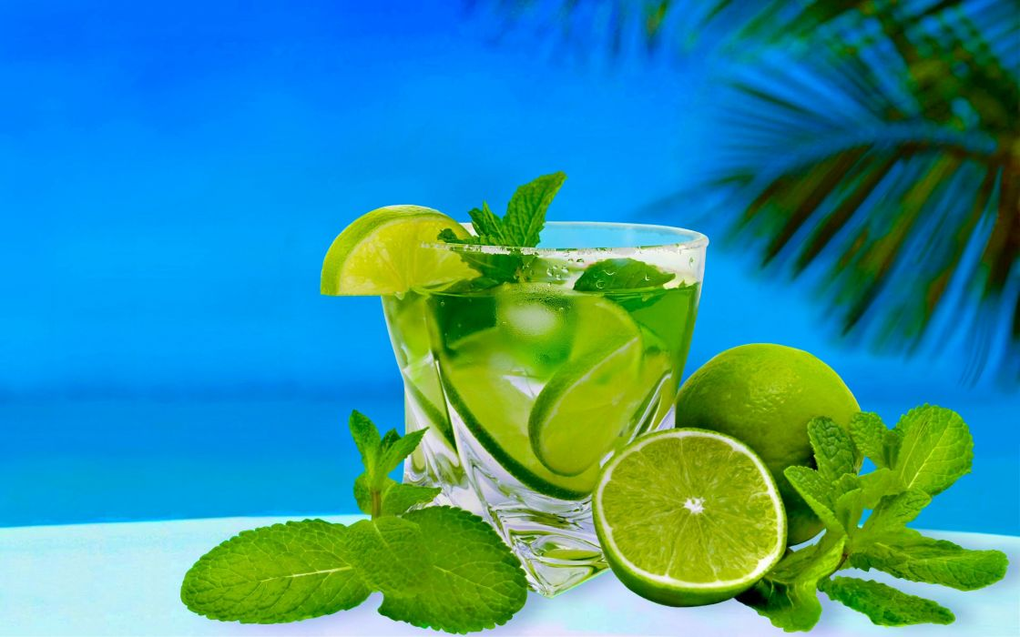 cocktail lime mint glass alcohol wallpaper