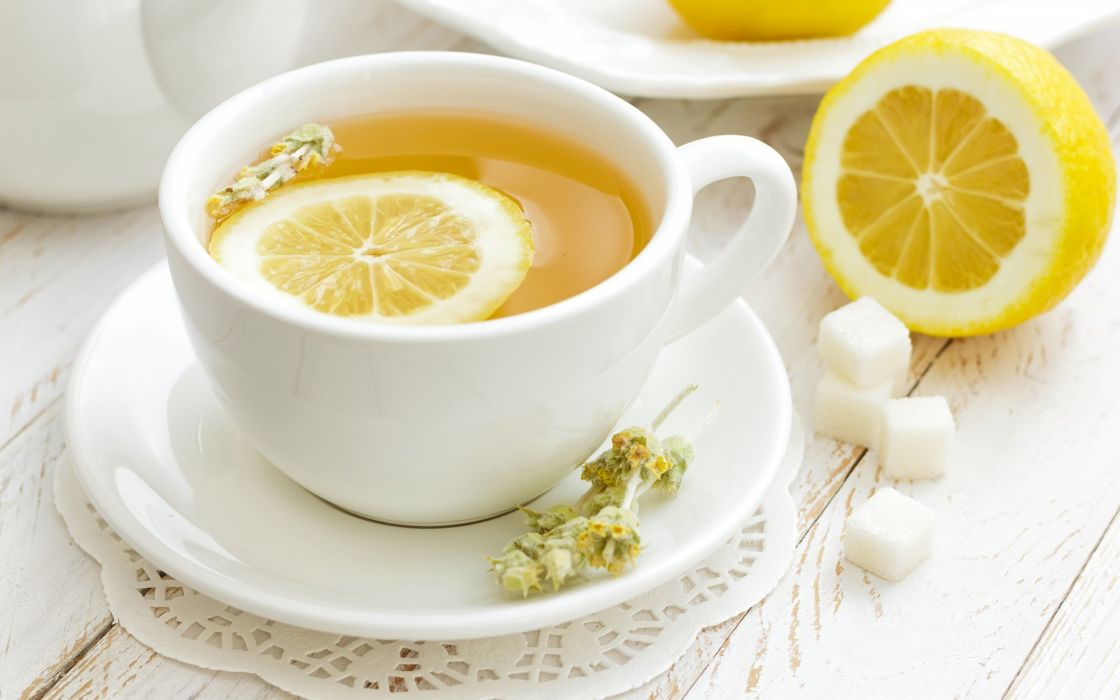 cup saucer tea sugar lemon wallpaper