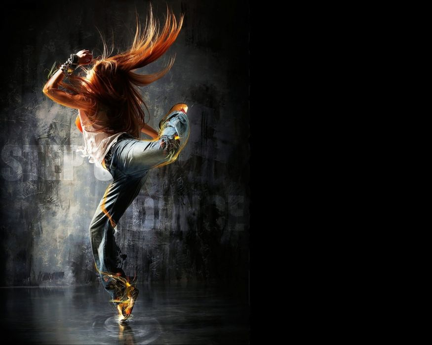 dance redhead hair red dancing sexy babe artwork art photoshop painting wallpaper