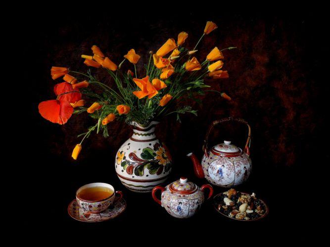 flowers vase cup tea nuts still life wallpaper