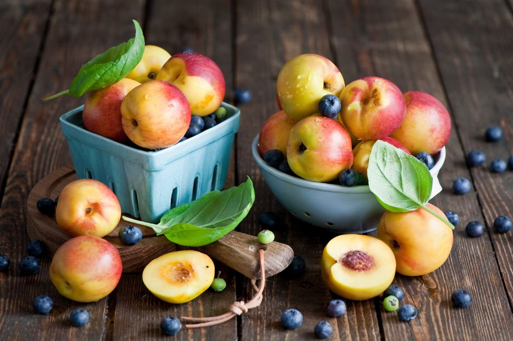 Fruit Peaches Blueberries Food wallpaper