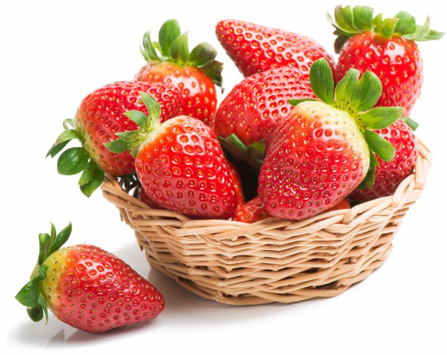 Fruit Strawberry Many Wicker basket Food strawberries wallpaper