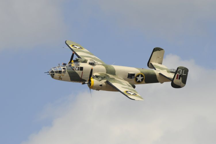 North American B-25 Mitchell American twin-engine medium bomber flight sky military wallpaper