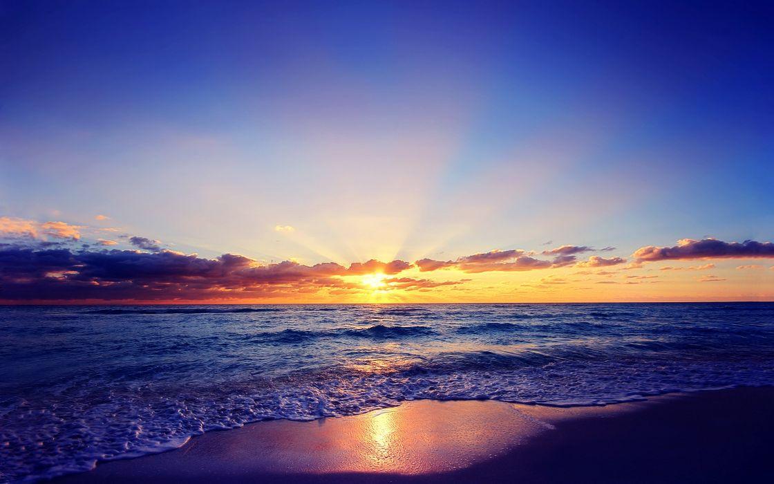 sea sunset sun beach clouds clouds wallpaper