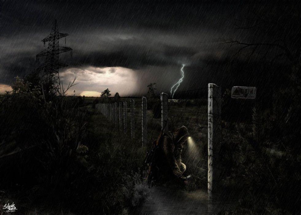 stalker Chernobyl the soldier the night zone rain storm lightning sci-fi wallpaper
