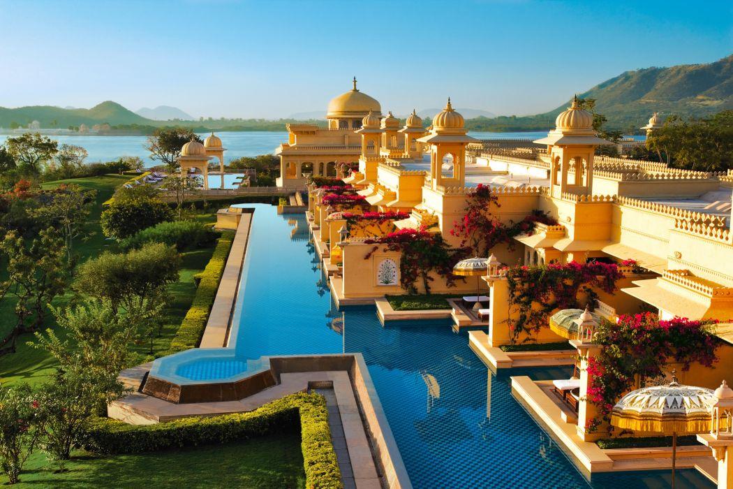 sea beach hotel habitat species landscape India design pool wallpaper