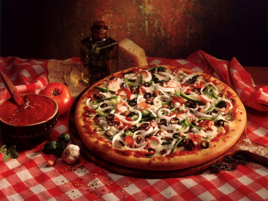 tomato pizza olives onion olive oil bell pepper italian cuisine wallpaper