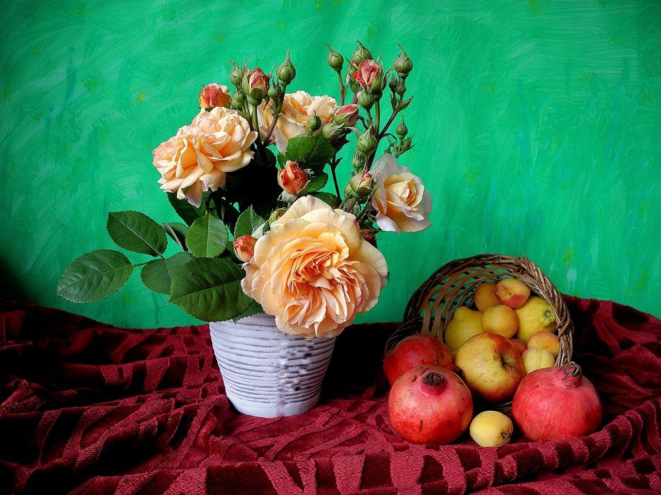 yzan apple pomegranate still life wallpaper