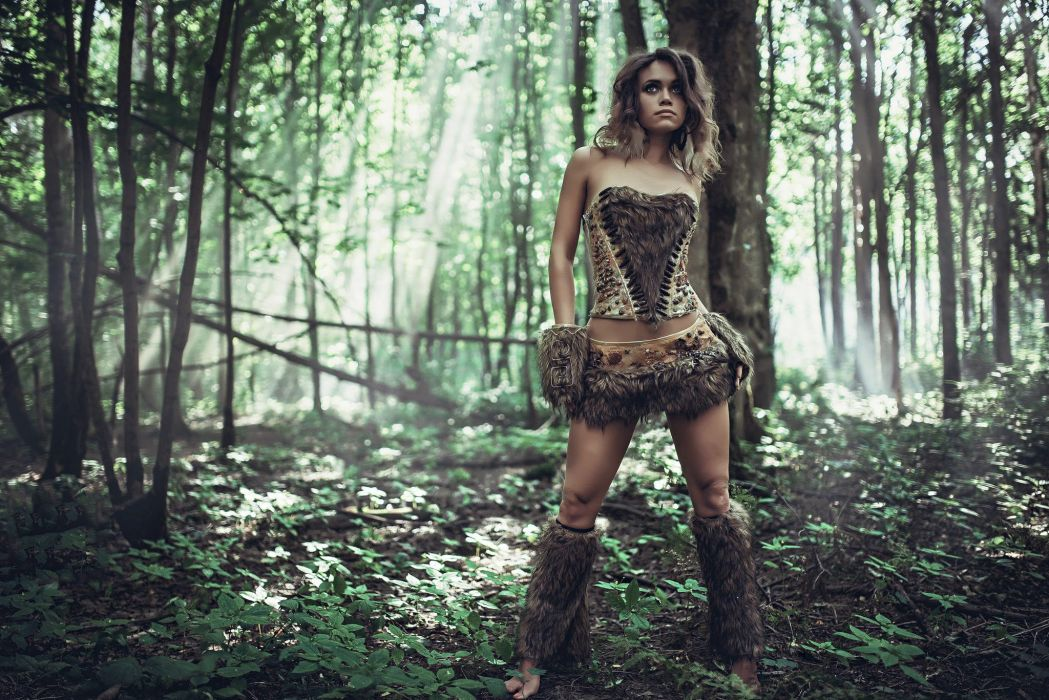 Woman of the Jungle savage Amazon skins fur cosplay sexy babe forest wallpaper