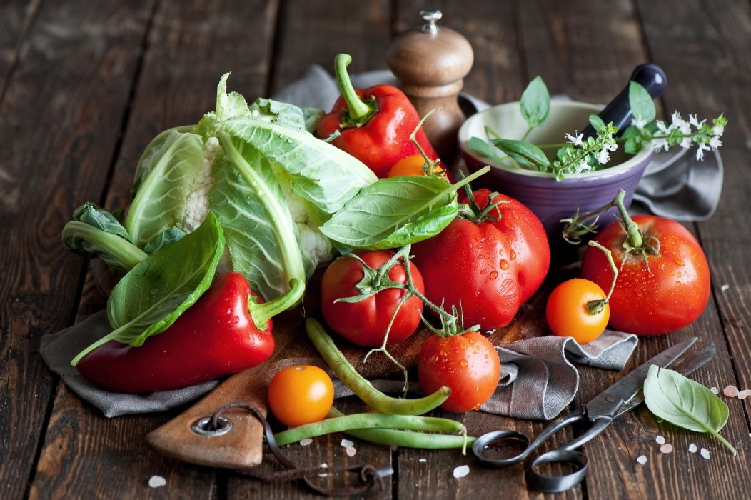 Vegetables Tomatoes Cabbage Food wallpaper