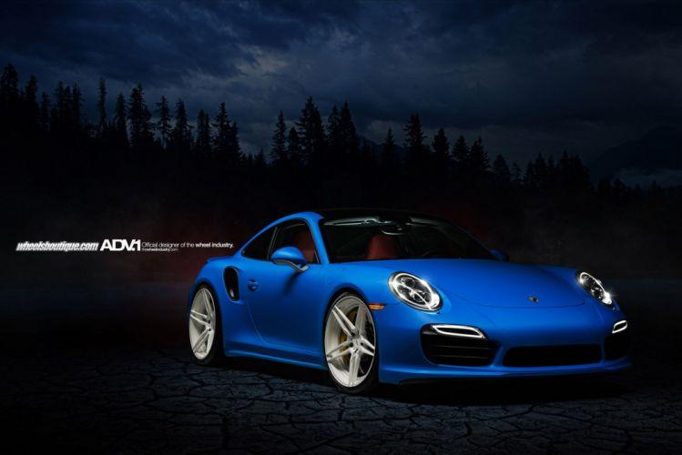 2013 911 991 Porsche Turbo adv1 wheels bleu blue wallpaper