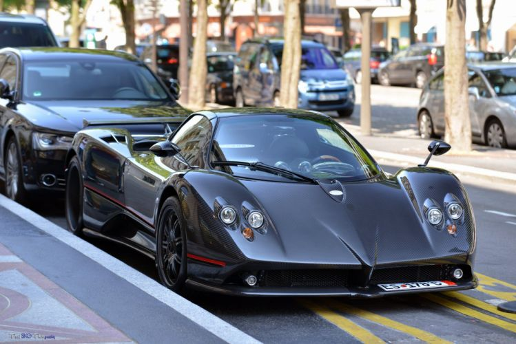 cars Exotic Pagani Supercar vehicles Zonda noir black nero wallpaper
