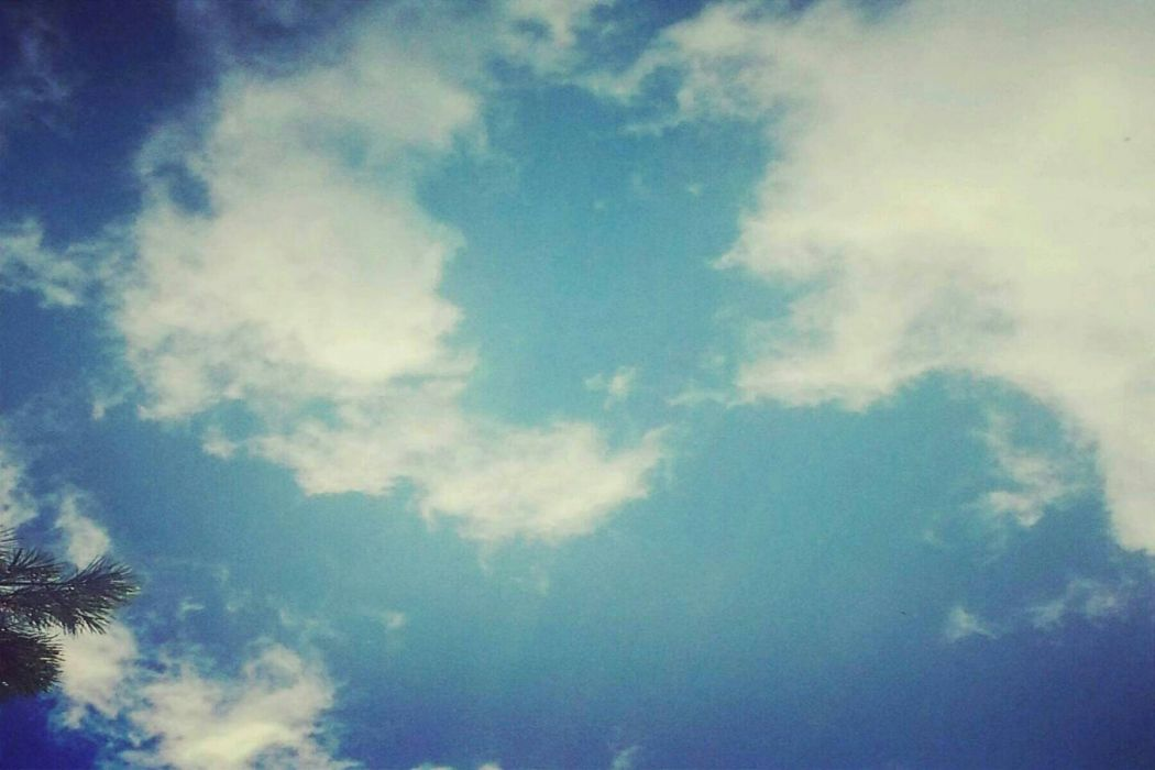 sky selfmade blue white summer clouds wallpaper