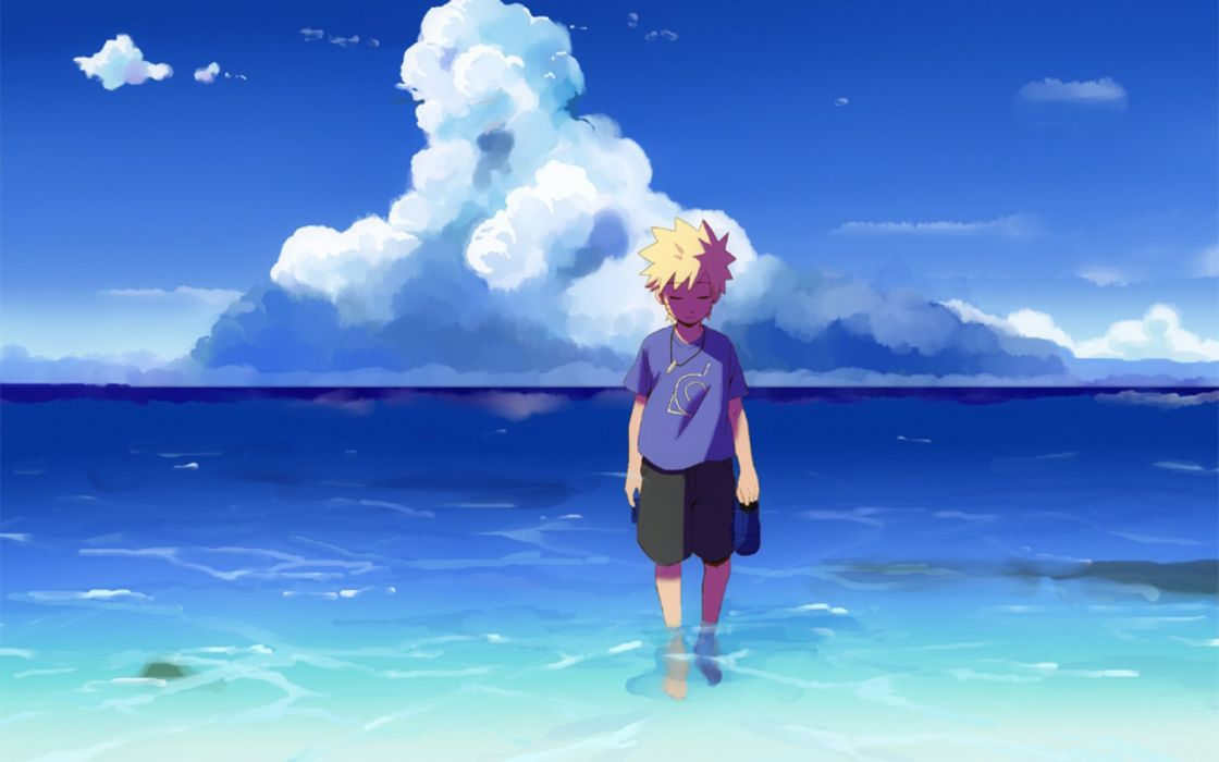 Anime Solitario dark Sky blue mar oceano water Naruto Shippuden boy kid triste short hair wallpaper