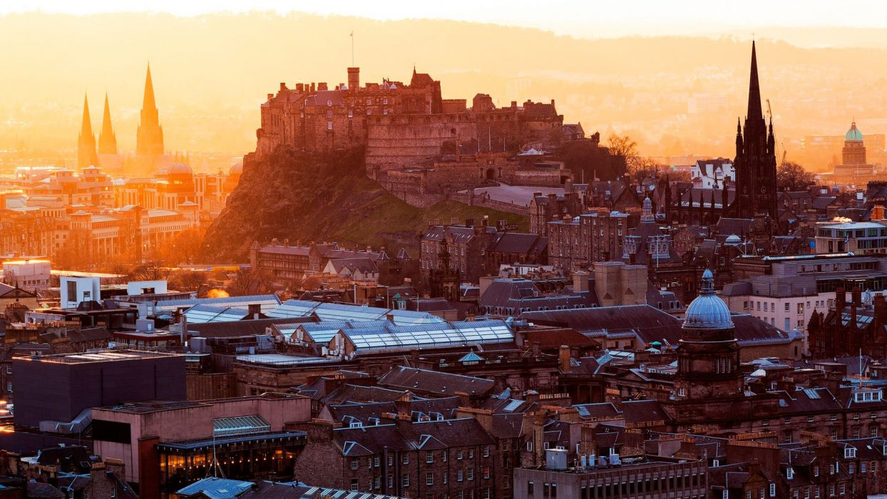 Edinburgh city cities castle winter sunrise sunset wallpaper