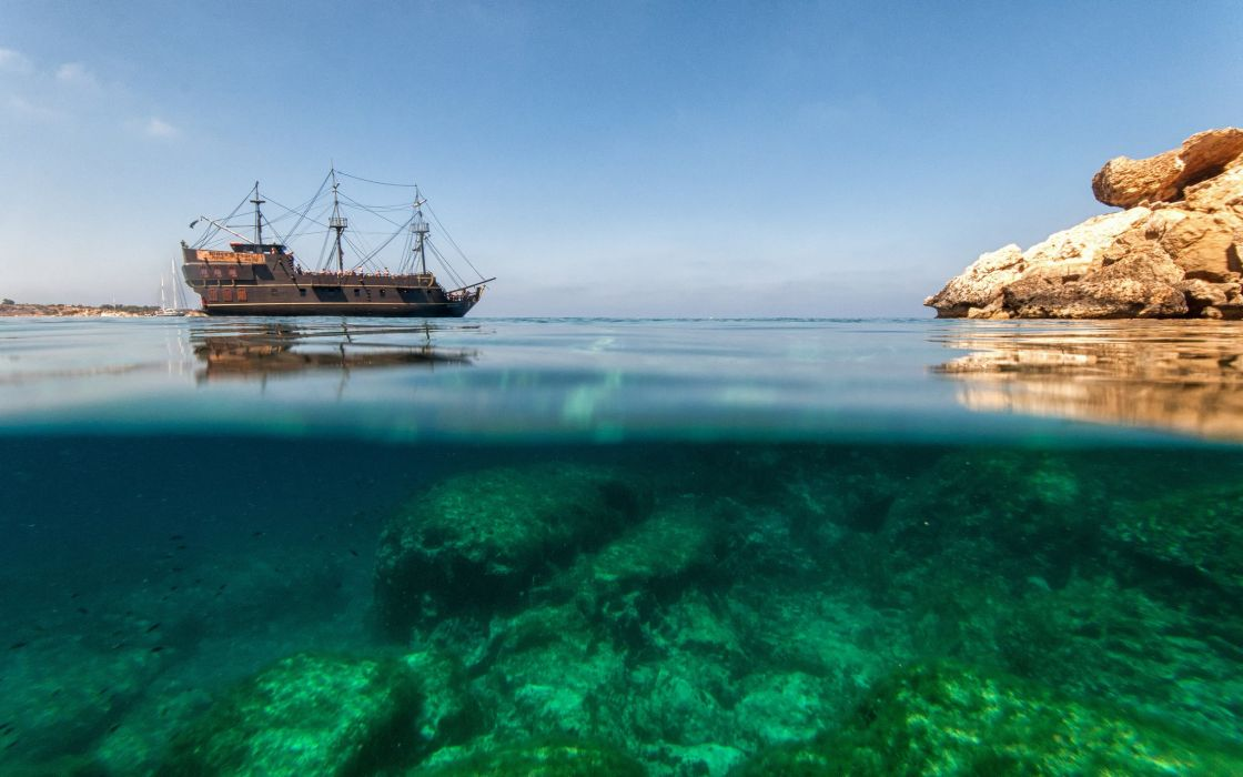 horvaiya sea nature europe rock underwater pirate ship ships frigate ocean wallpaper