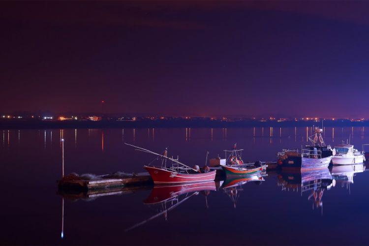 night evening river boats reflection boat mood wallpaper