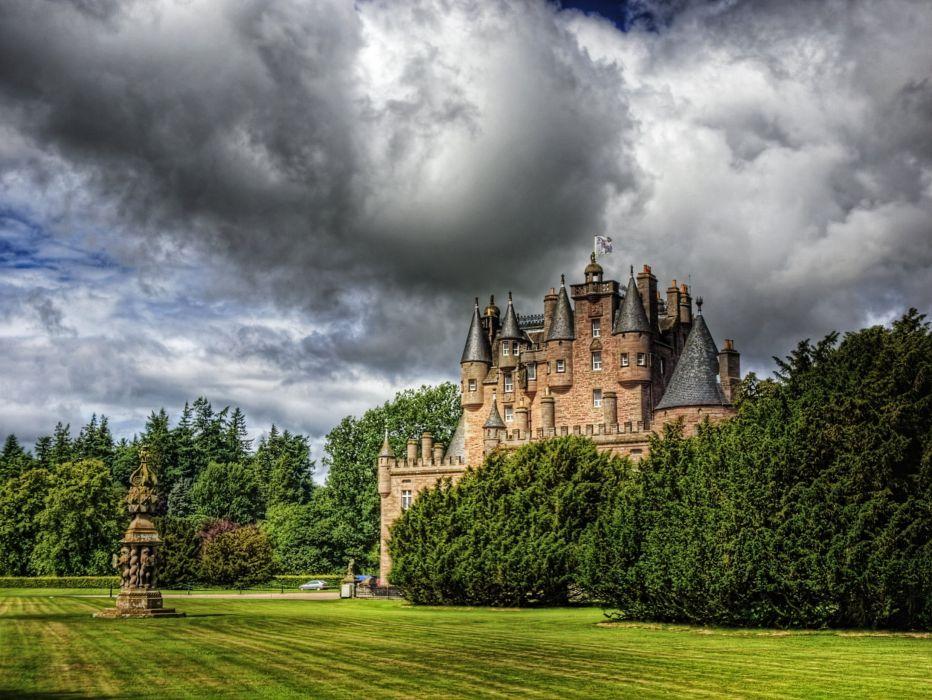 Scotland zamok glamis cloud lawn hdr castle wallpaper