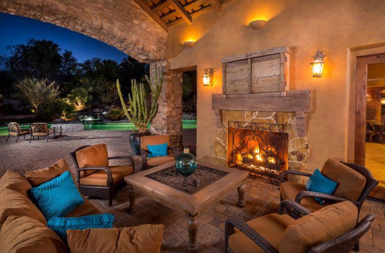 porch patio evening fireplace chair interior design wallpaper
