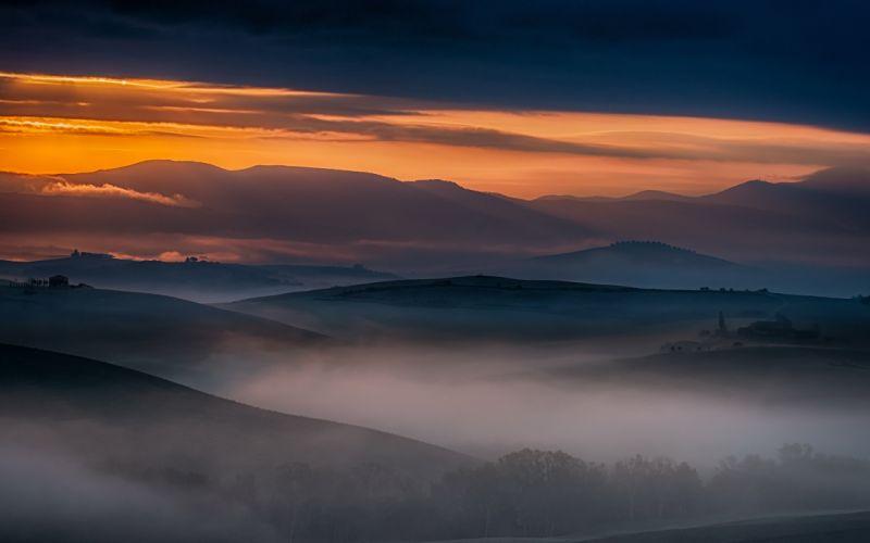 san quirico - tuscany landscape nature italy sunrise sunset mountains hills wallpaper