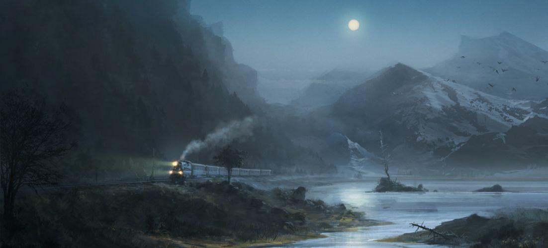 stones moon night birds midnight painting artwork art railroad mood wallpaper