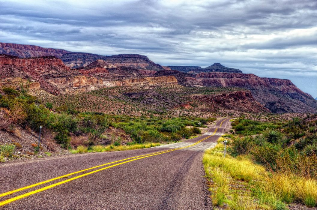 Big Bend Ranch State Park hdr desert mountains road clouds wallpaper