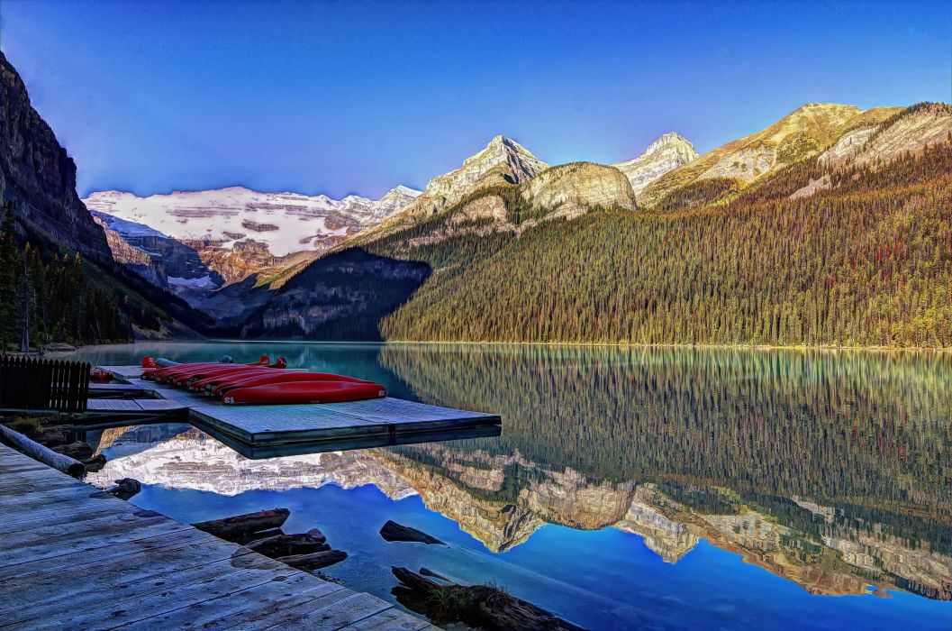 lake louise banff national park alberta canada reflection mountains f wallpaper