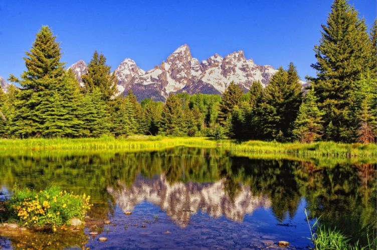 lake mountains trees landscape reflection wallpaper