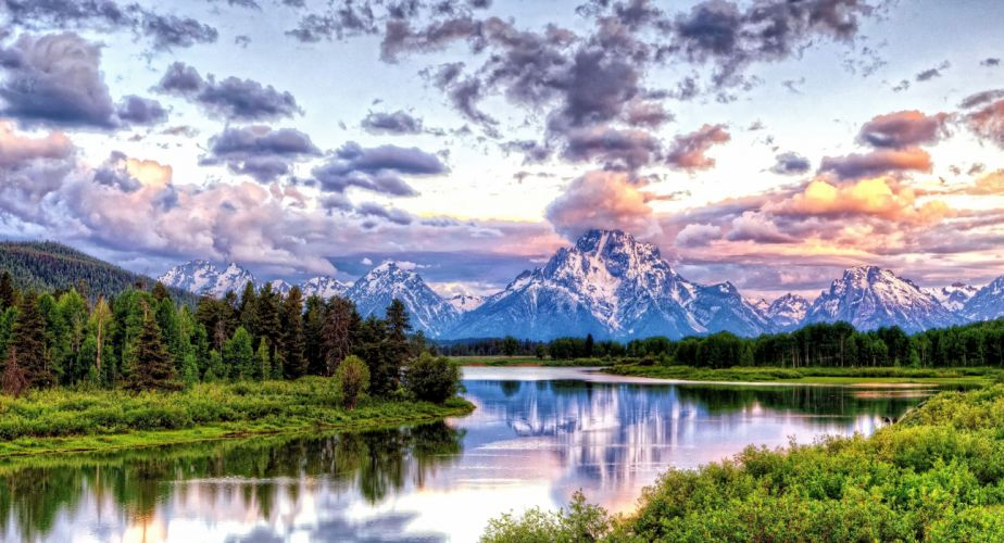 Oxbow Bend Grand Teton National Park hdr mountains river sunset sunrise clouds wallpaper