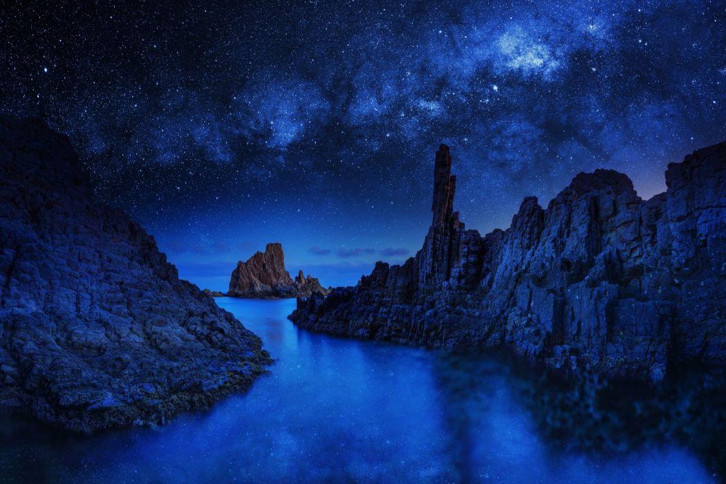 river ocean sea stars sky blue night mood reflection wallpaper