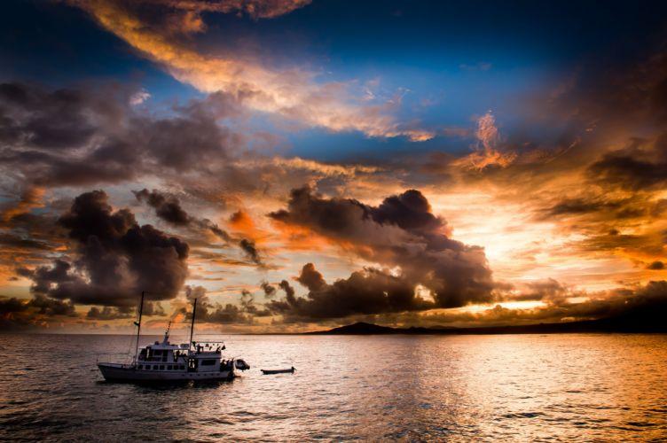 poberezhe yacht sunset evening sea ocean fishing sky clouds reflection boat wallpaper