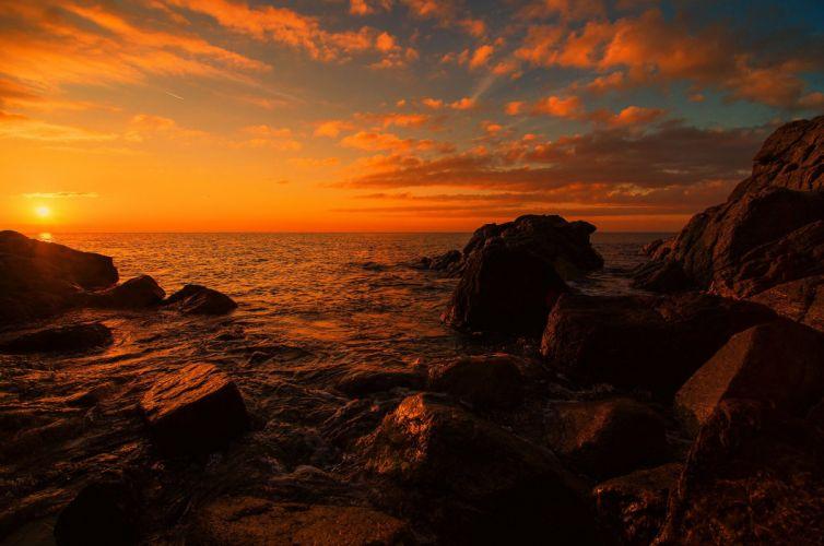 stones sunset sea ocean sunrise wallpaper