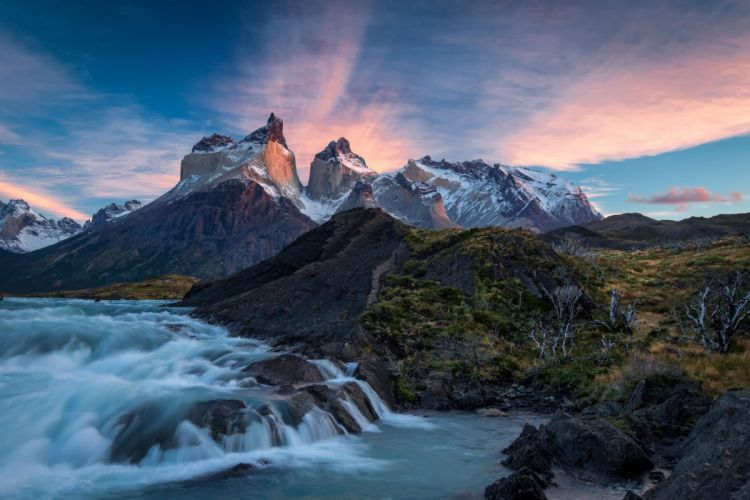 Torres del Paine chili river waterfall sky clouds mountains wallpaper