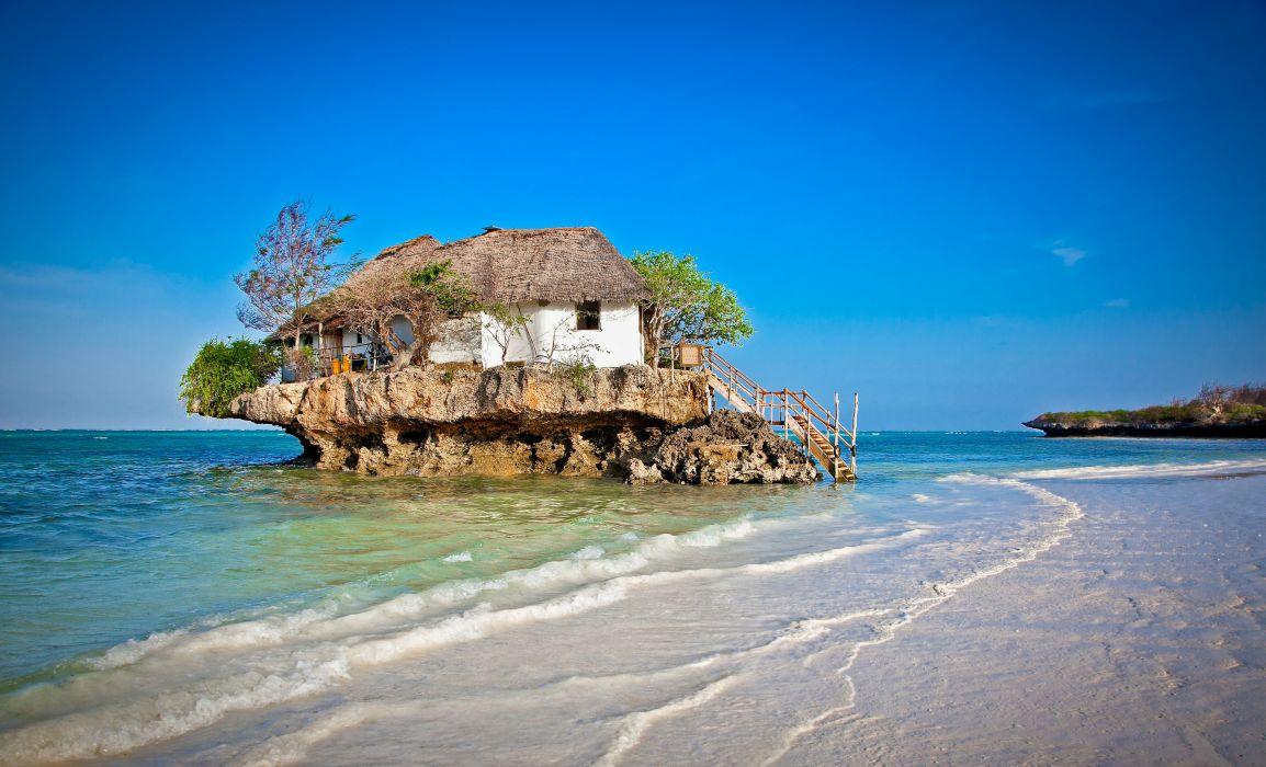 staircase island house sea trees beach ocean wallpaper