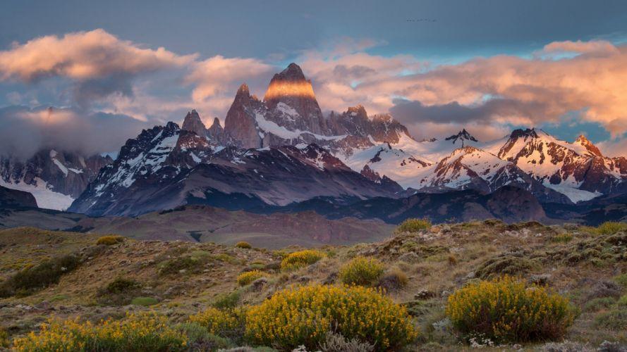 Argentina Chile border Patagonia Monte desert Mount Fitz Roy wallpaper